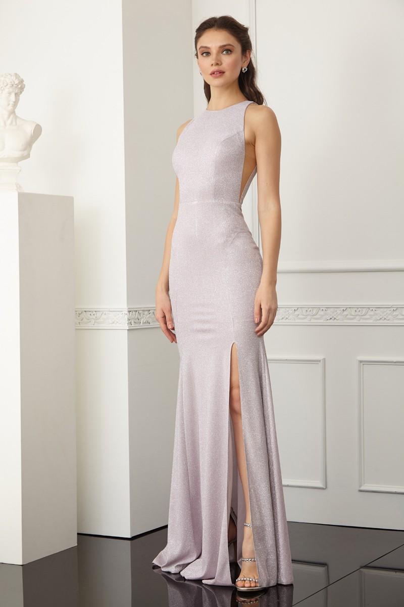 Pudra parıltı kolsuz uzun elbise